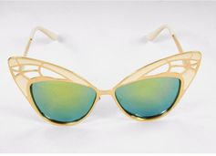 Women's sunglasses with art deco frame openwork butterfly