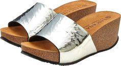 Lascana Slippers met sleehak en metallic-look