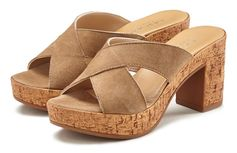 Lascana slippers van leer met blokhak