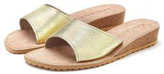 Lascana slippers met sleehak van leer