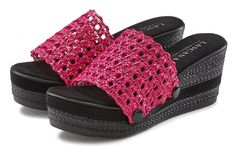 Lascana slippers met sleehak en eenvoudig afknoopbare bovenstukken dankzij knoop