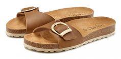 Lascana slippers met comfortabel kurkvoetbed van zacht leer
