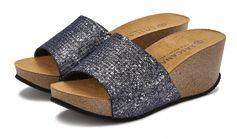 Lascana slippers met sleehak en kurkvoetbed