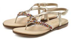 Lascana teenslippers Sandalen van leer met glitter