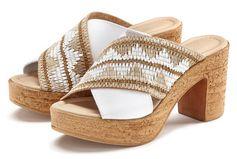 Lascana Slippers in een excellente materialenmix met comfortabele blokhak