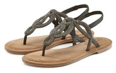 Lascana teenslippers Sandalen met siersteentjes en zachte leren binnenzool