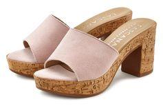Lascana slippers van leer met comfortabele blokhak in kurk-look