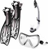 #DoYourSwimming - Snorkelset - »Nixe« - duikbril + zwemvliezen / flippers (zwemvinnen)  + snorkel - EU 44-48 - grijs