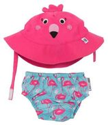 Zoocchini Franny the flamingo zwemluier + zonnehoedje maat M