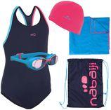 Nabaiji Zwemset Leony+: badpak, zwembrilletje, badmuts, handdoek, zwemtas