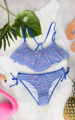 Flamingo Bandeau Bikini Kobaltblauw