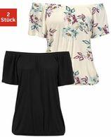 Lascana shirt met carmenhals op verschillende manieren te dragen (Set van 2)