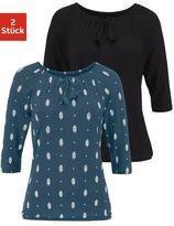 Vivance shirt (set van 2) met bindstrik bij de hals