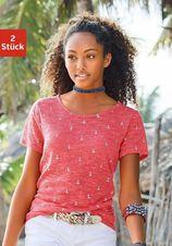 Beachtime T-shirt (set van 2) met maritieme ankerprint