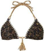 Banana Moon Mix & Match triangel bikinitop in all over print zwart/goud