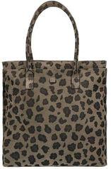 Manfield suède shopper met luipaardprint groen/grijs
