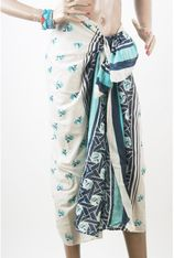Off-white sarong met turquoise - blauwe ankers