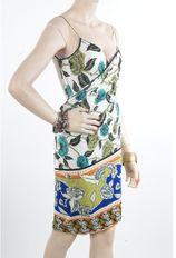 Wikkel pareo jurk van stretch materiaal met bloemenprint