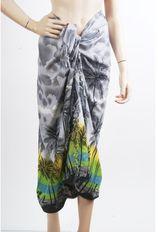 Lichtgrijze sarong met tropische print