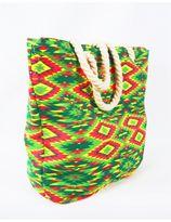 canvas strandtas met Aztekenmotief in lime en rood