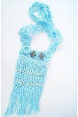 Lichtblauw gehaakt crossbody reis/strandtasje met kralen en franje