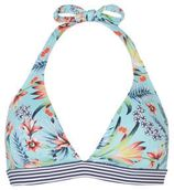 ESPRIT Women Beach halter bikinitop in all over print turquoise