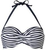 ESPRIT Women Beach gestreepte bandeau bikinitop donkerblauw