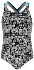 River Island badpak in all over print zwart