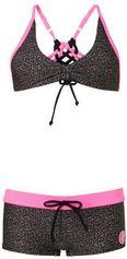 Zee & Zo bikini met all-over panterprint zwart/roze