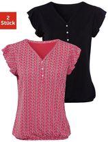 Lascana shirttop met kapmouwtjes (Set van 2)