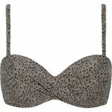 Beachlife Cheetah Padded Bikinitop Taupe/Zwart
