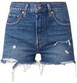 Levi's 501 high rise shorts van denim met ripped details