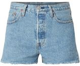Levi's 501 high rise denim shorts met gerafelde zoom