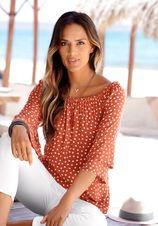Lascana blouse met carmenhals met hartjesprint