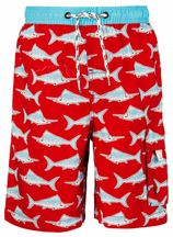 Snapper Rock - UV jongens zwembroek - Rood/blauwe zwaardvis
