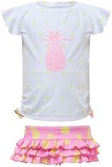 Snapper Rock - UV Zwemset met ruche - Pineapple Spot - Wit/Roze