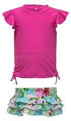 Snapper Rock - UV-zwemset met ruche - Watercolor Floral - Roze/Blauw