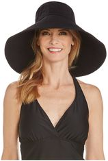 Coolibar - UV-flaphoed voor dames met brede rand - Zwart