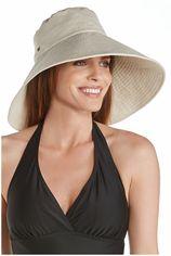 Coolibar - UV-flaphoed voor dames met brede rand - Visgraat naturel