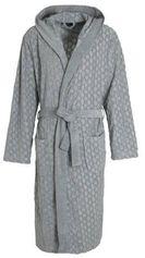 BOSS badjas met textuur en capuchon grijs
