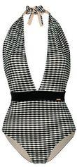 Sapph laaguitgesneden badpak Eva met all over print zwart/wit
