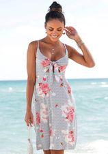 Beachtime gedessineerde jurk met bloemenprint