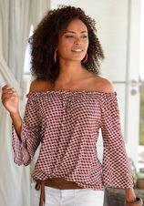 LASCANA blouse met carmenhals