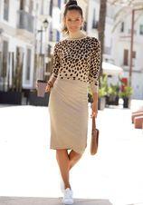 Lascana tricotjurk met luipaardpatroon