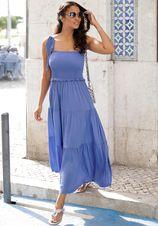 Lascana maxi-jurk met breed gesmokt deel