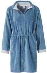 Vandyck fleece badjas met ritssluiting blauw