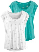 BEACHTIME T-shirt (set van 2) met transparante sterretjes