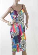 Zwart witte wikkel pareo jurk met multi colorblock grafish design