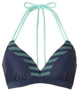 Beachlife halter bikinitop donkerblauw/groen