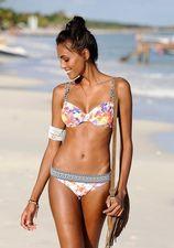 Bikinitop met tropisch dessin en contrasterende bandjes